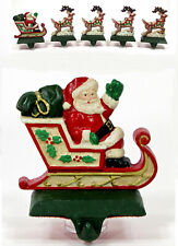 """Midwest of Cannon Falls SANTA IN SLEIGH 5"""" Stocking Hanger Cast Iron Waving"""