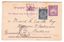 FIJI ISLANDS: 1895 1 + 1 MESSAGE/REPLY CARD, USED with Sc#53, H&G#3-unsevered