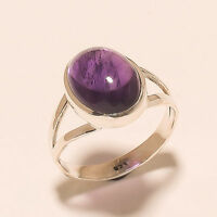 4.60 Gm 925 Solid Sterling Silver Ring Natural Amethyst Ring Size 7.8 i-1565