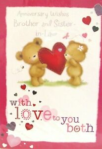 """Cute Bears Holding Heart """"BROTHER & SISTER~IN~LAW"""" Anniversary Card"""