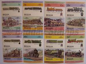 1984 BEQUIA Set #1 Train Locomotive Railway Stamps (Leaders of the World)