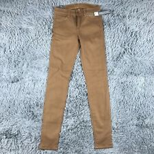 J Brand Super Skinny Mid Rise Jeans Womens Coated Sand Brown Sz 24 NWT