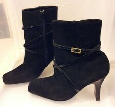 Womens Paola Black Leather Ankle Boots Strap Decor Size 7.5 Med 3.5 In Heel