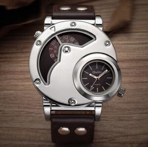 Designed by Oulm - Silver Case Men's Unique Two-Timezones Quartz Designer Watch