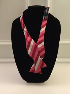 Brooks Brothers Bow Tie Red Pink Grey Stripes 100% Silk Made in USA