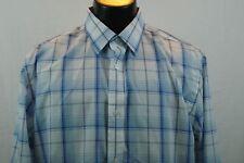 BANANA REPUBLIC Dress Shirt - Blue/Orange Plaid - Classic Fit - XL