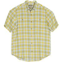 NWOT Duluth Trading Co Mens Shirt Size M Hemp Organic Cotton Yellow Gray Plaid