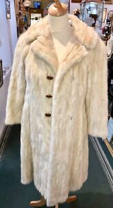 white Vintage Fur long coat jacket