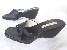 BCBG MAX AZRIA - TULA -  Women's Black Leather Wedge Mules Sandals - Size 8.5 M