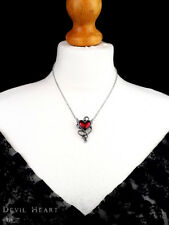 Ladies Necklace Original Alchemy Gothic Red Devil Heart Pewter Pendant Silver