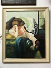 E Muller tableau huile sur panneau bois femme pensive des années 70