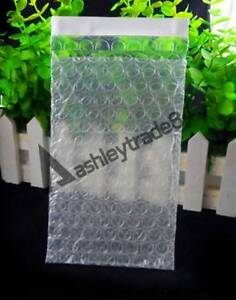 """100 Clear Self Seal Bubble Bags Plastic Packing Pouches 6"""" x 8""""_150 x 200+25mm"""