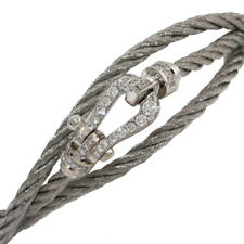 FRED Force 10 Diamonds Silver 3Row Cord Bracelet in 18K White Gold & Steel D6154
