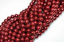 70 Crimson Red Glass Pearl Round Beads 6MM LIMITED