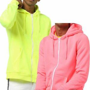 Mens Brave Soul Hoodie Sweatshirt Neon Zipup Hooded Plain Sweat Top Hoody Jumper