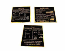 Brand New Rare Brass Acid Etching Willys Jeep MB GPW Brass Dash Data Plate Set