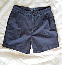 Polo Ralph Lauren Navy Blue Pleated Classic Golf Work Khaki Chino Shorts 33