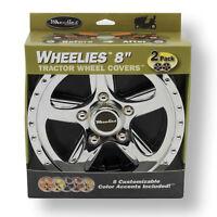 "2 New Wheelies Lawn Mower Garden Tractor Wheel Covers Hub Caps for 8"" Wheels 188"