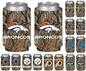 NFL Football Vista Hunting Camo Insulated Can Holder Cooler - 2 Pack- Pick Team!