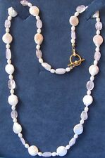 """20"""" Freshwater Pearl Coin Pearl & Rose Quartz  Necklace 14K  YGF Toggle Clasp"""