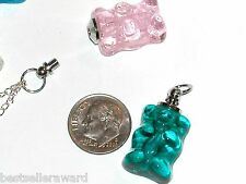 1pc Miniature Murano Aqua Glass Gummy Bear BOTTLE vial charm necklace pendant