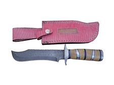 """Pioneer Damascus Steel Hunting Knife Silver Guard,11"""" Pt-58"""