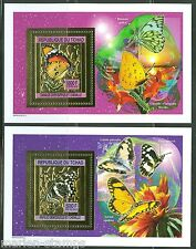 CHAD  2013  BUTTERFLIES  GOLD FOIL SET OF TWO SOUVENIR SHEETS   MINT NH AS SHOWN