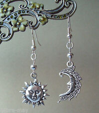 Mystical Sun and Moon Face Dangly Celestial Earrings - New Age Retro Kitsch