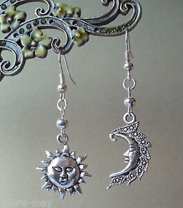 Mystical Sun and Moon Face Dangly Earrings in Gift Bag - Wiccan Pagan Celestial