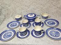 Vintage, Rare, 1940s, USA Royal China, 17-pc Blue Willow Trio- Tea Set