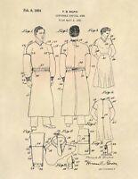 Vintage Hospital Gown US Patent Art Print - Antique Doctor Physician Nurse - 797