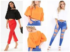 Womens Ladies Puffball Ruffle Sleeve Zip Back Baggy Party Cropped Top UK 6-12