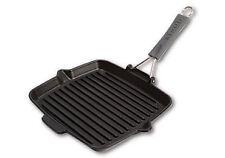 Staub 1202123 Grill Rectangular Grill Pan With Red Silicone Handle 24 Cm Black