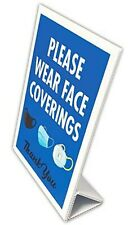 Please Wear Face Coverings Countertop Sign - Face Mask Sign - Self Standing