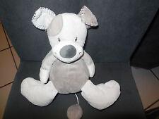 doudou peluche musical chien gris beige NATTOU DOUKIDOU JOLLYMEX ??? 22cm assis
