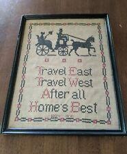 Antique 10X14 Cross Stitch Sampler Travel East West Home'S Best 1934 Detroit Mi
