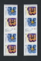 lq. PANSY flowers= Type I & II Coil Strips of 4 w/inscrip Canada 2015 #2811i MNH