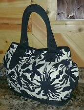 J.CREW 100% Cotton Blue Print Denim Tote Bag Carryall Side~Cinch Handbag
