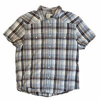Lucky Brand Pearl Snap Shirt Short Sleeve Men's Large Western Style