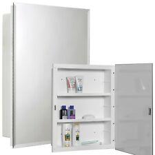 Rectangular Plastic Bathroom Mirror Cabinet Wall Mounted Storage Modern Design