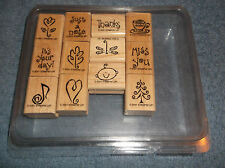 2001 Stampin' Up Wood Mounted Rubber Ink Stamps - Sayings & Symbols - New
