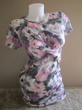 ASOS Maternity Purple Floral Print Gathered Front Fitted Dress Size 6