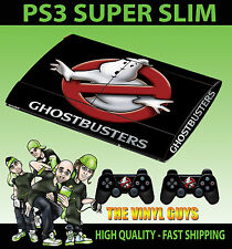 PLAYSTATION 3 SUPER SLIM GHOST BUSTERS LOGO GHOSTBUSTER SKIN STICKER & PAD SKINS