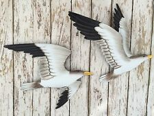 (2) Metal Seagull Wall Plaques ~ Nautical Beach Decor ~ Shore Bird