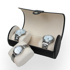 Glass Top Jewelry Storage Organizer Gifts 3 Slot Leather Watch Case Box