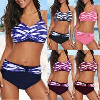 Women Halter-Neck Bikini Cross Push up Gradient Swimwear Beach Bathing Suits #@