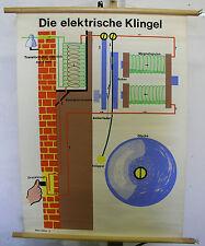 schöne alte Schulwandkarte Hausklingel Klingelanlage Gong Bild 70x95 vintage map