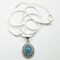 925 Solid Sterling Silver Genuine BLUE CHALCEDONY Pretty Pendant Necklace 18""