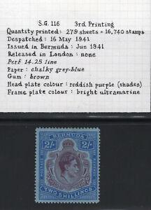 1938-53 Bermuda. SG#116b. Mint, Lightly Hinged, FVF. 3rd Printing