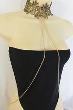Women Gold Metal Body Chain Fashion Jewelry Harness Black Lace Choker Necklace